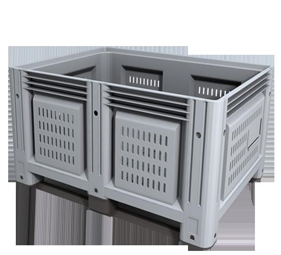 Цельнолитой пластиковый контейнер,Перфорированные паллетные контейнеры